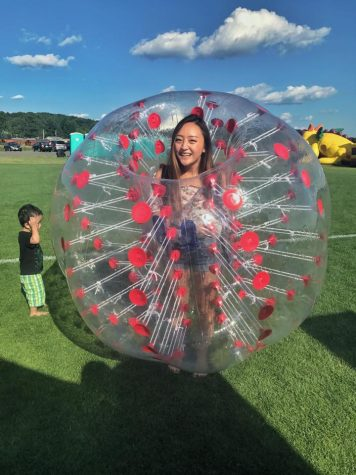 Yingyee Xiong in a bubble soccer