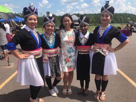 Hmong traditional dance group: Nthxais Npau Suav From left: Epiphany Yang, Mai Xiong, Ungalee Xiong, Ka Lia Vang, Chong Her