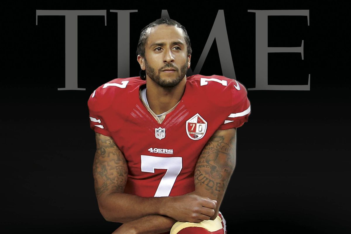 Colin Kaepernick kneels during the anthem. Photo from sbnation.com