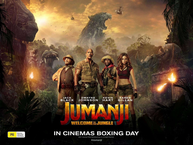 Jumanji featuring Jack Black, Dwayne Johnson, Kevin Hart, and Karen Gillan