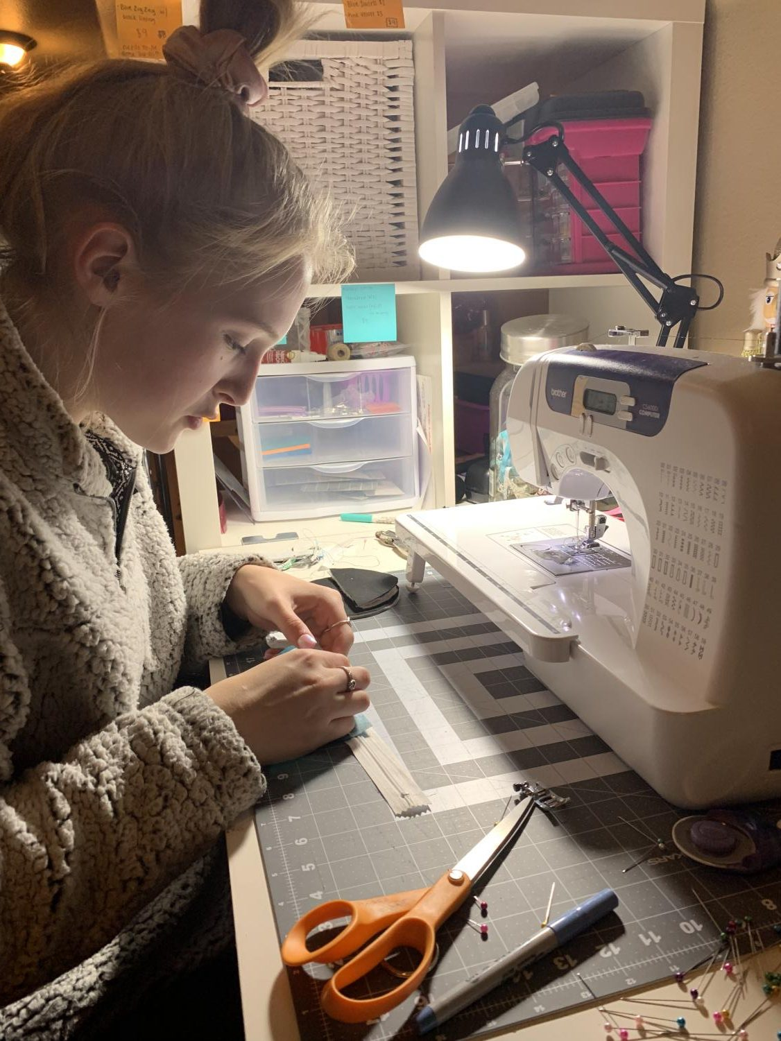 Junior Maisie Gelhar works steadily on creating and finishing one of her many orders. Photo courtesy of Maisie Gelhar.