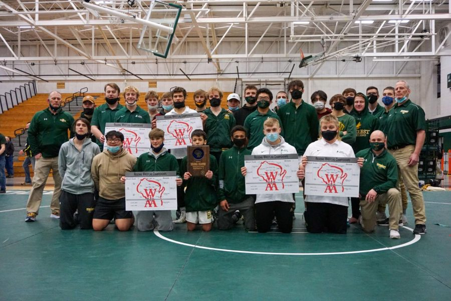 2020-21 DCE Senior High School Wrestling team captures a photo and repeats history.  Contributed photo